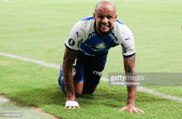 Felipe Melo of Palmeiras of Brazil celebrates after scoring the first goal of his team during the match against Melgar of Peru for the Copa CONMEBOL...