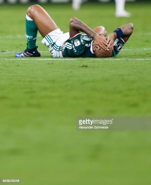 Felipe Melo of Palmeiras reacts during the match between Palmeiras of Brazil and Jorge Wiltersmann of Bolivia for the Copa Bridgestone Libertadores...