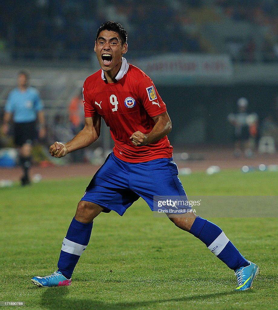 Felipe Mora of Chile celebrates scoring his side's first goal during the FIFA U20 World Cup Group E match between Iraq and Chile at Akdeniz University Stadium on June 29, 2013 in Antalya, Turkey.