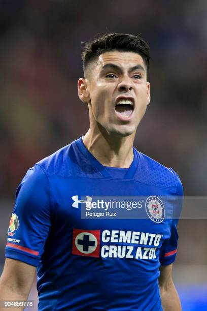 Felipe Mora of Cruz Azul celebrates after scoring the first goal of his team during the 2nd round match between Chivas and Cruz Azul as part of the...