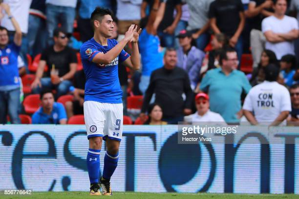 Felipe Mora of Cruz Azul celebrates after scoring the fourth goal of his team during the 12th round match between Pumas UNAM and Cruz Azul as part of...