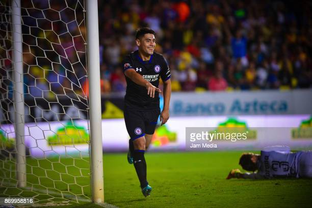 Felipe Mora of Cruz Azul celebrates after scoring the second goal of his team during the 16th round match between Morelia and Cruz Azul as part of...