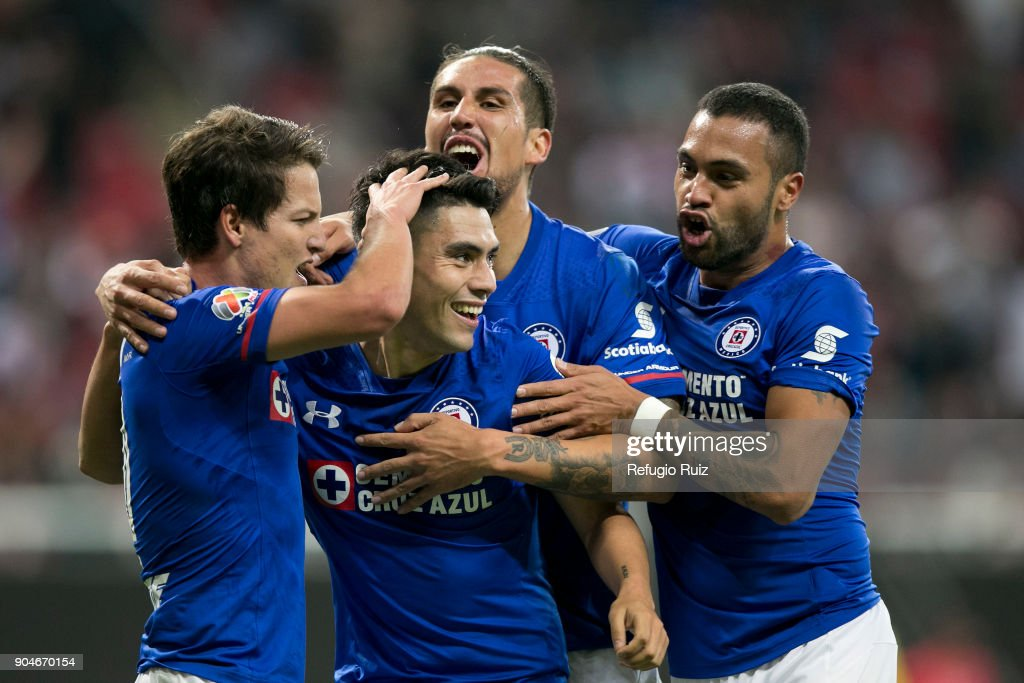 Felipe Mora of Cruz Azul celebrates after scoring the third goal of his team during the 2nd round match between Chivas and Cruz Azul as part of the Torneo Clausura 2018 Liga MX at Akron Stadium on January 13, 2018 in Zapopan, Mexico.