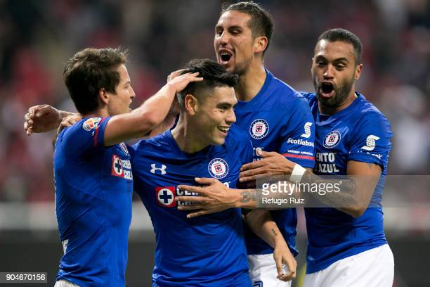 Felipe Mora of Cruz Azul celebrates after scoring the third goal of his team during the 2nd round match between Chivas and Cruz Azul as part of the...