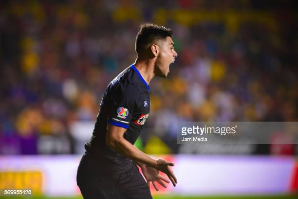 Felipe Mora of Cruz Azul celebrates after soring the first goal of his team during the 16th round match between Morelia and Cruz Azul as part of the...