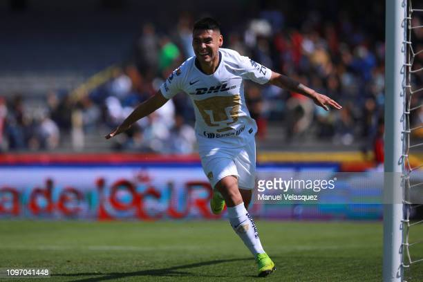 Felipe Mora of Pumas celebrates after scoring the second goal of his team during the 3rd round match between Pumas UNAM and Atlas as part of the...