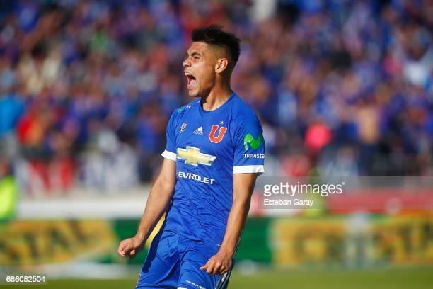 Felipe Mora of Universidad de Chile celebrates after scoring the opening goal during a match between Universidad de Chile and San Luis de Quillota as...