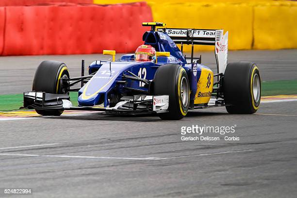 Felipe Nasr driving for the Sauber F1 Team in action during the race of the 2015 Formula 1 Shell Belgian Grand Prix at Circuit de Spa-Francorchamps...