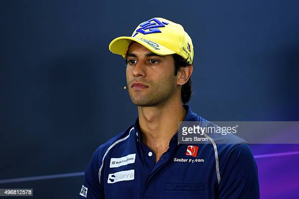 Felipe Nasr of Brazil and Sauber F1 attends a press conference during previews for the Formula One Grand Prix of Brazil at Autodromo Jose Carlos Pace...
