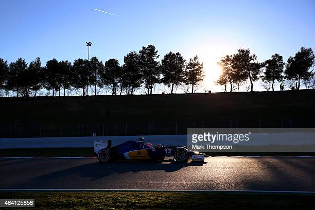 Felipe Nasr of Brazil and Sauber F1 drives during day four of Formula One Winter Testing at Circuit de Catalunya on February 22, 2015 in Montmelo,...