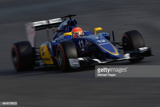 Felipe Nasr of Brazil and Sauber F1 drives during day four of the final Formula One Winter Testing at Circuit de Catalunya on March 1 2015 in...