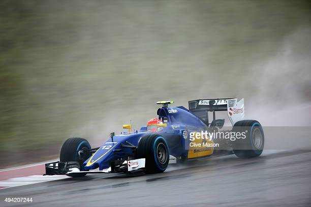 Felipe Nasr of Brazil and Sauber F1 drives during qualifying before the United States Formula One Grand Prix at Circuit of The Americas on October 25...