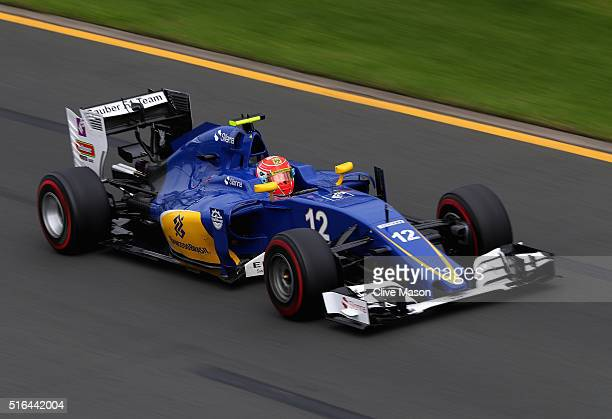 Felipe Nasr of Brazil drives the Sauber F1 Team Sauber C35 Ferrari 059/5 turbo on track during qualifying for the Australian Formula One Grand Prix...