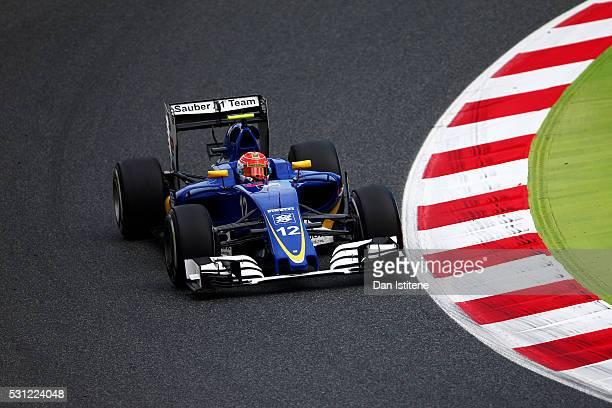 Felipe Nasr of Brazil driving the Sauber F1 Team Sauber C35 Ferrari 059/5 turbo on track during practice for the Spanish Formula One Grand Prix at...