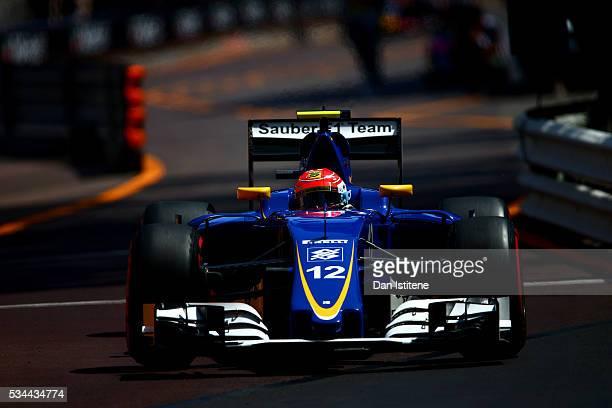 Felipe Nasr of Brazil driving the Sauber F1 Team Sauber C35 Ferrari 059/5 turbo on track during practice for the Monaco Formula One Grand Prix at...
