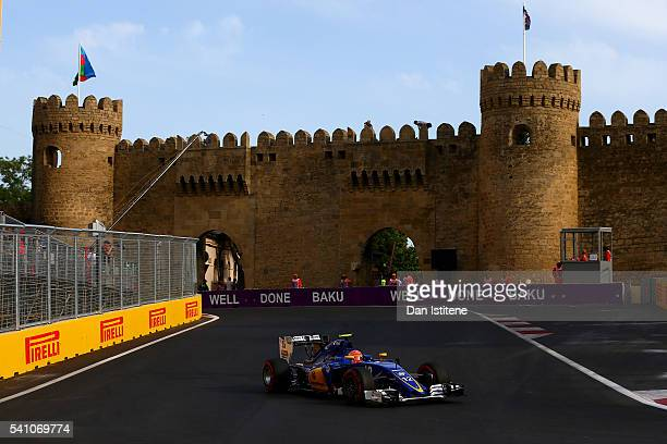 Felipe Nasr of Brazil driving the Sauber F1 Team Sauber C35 Ferrari 059/5 turbo on track during qualifying for the European Formula One Grand Prix at...