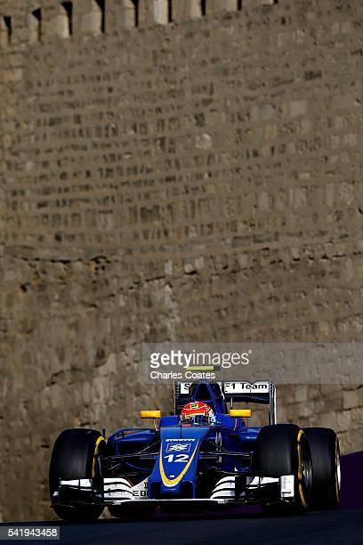 Felipe Nasr of Brazil driving the Sauber F1 Team Sauber C35 Ferrari 059/5 turbo on track during the European Formula One Grand Prix at Baku City...