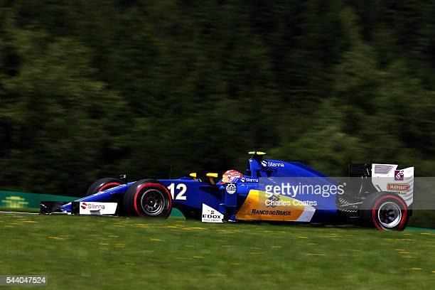 Felipe Nasr of Brazil driving the Sauber F1 Team Sauber C35 Ferrari 059/5 turbo on track during practice for the Formula One Grand Prix of Austria at...