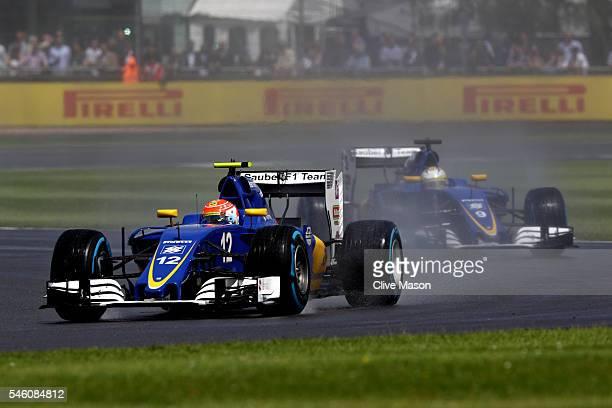 Felipe Nasr of Brazil driving the Sauber F1 Team Sauber C35 Ferrari 059/5 turbo and Marcus Ericsson of Sweden driving the Sauber F1 Team Sauber C35...