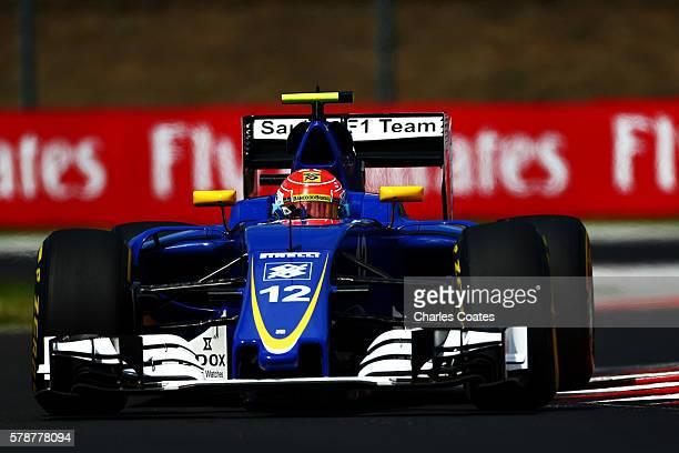 Felipe Nasr of Brazil driving the Sauber F1 Team Sauber C35 Ferrari 059/5 turbo on track during practice for the Formula One Grand Prix of Hungary at...