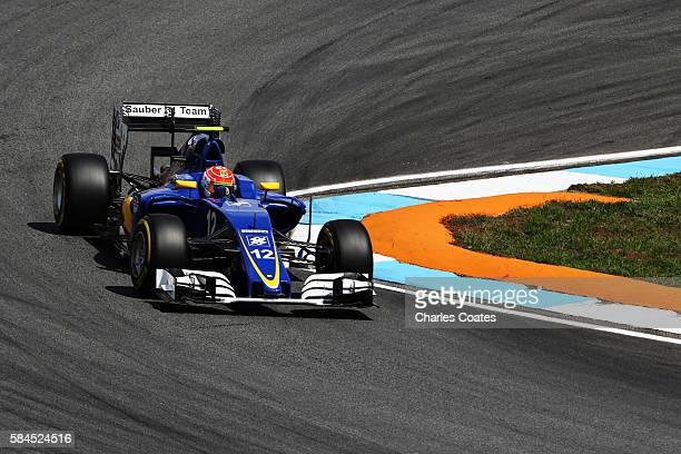 Felipe Nasr of Brazil driving the Sauber F1 Team Sauber C35 Ferrari 059/5 turbo on track during practice for the Formula One Grand Prix of Germany at...