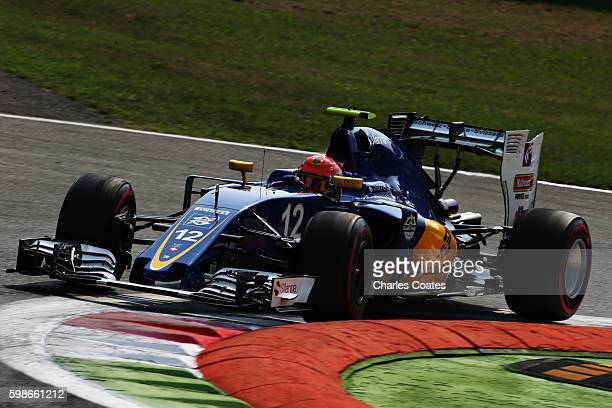 Felipe Nasr of Brazil driving the Sauber F1 Team Sauber C35 Ferrari 059/5 turbo on track during practice for the Formula One Grand Prix of Italy at...