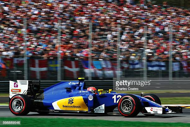 Felipe Nasr of Brazil driving the Sauber F1 Team Sauber C35 Ferrari 059/5 turbo on track during qualifying for the Formula One Grand Prix of Italy at...