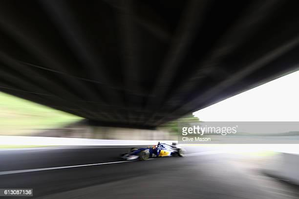 Felipe Nasr of Brazil driving the Sauber F1 Team Sauber C35 Ferrari 059/5 turbo on track during practice for the Formula One Grand Prix of Japan at...