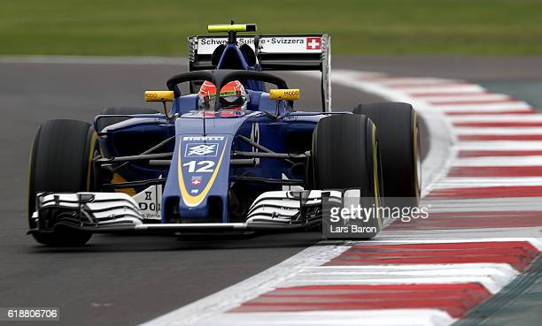 Felipe Nasr of Brazil driving the Sauber F1 Team Sauber C35 Ferrari 059/5 turbo on track during practice for the Formula One Grand Prix of Mexico at...