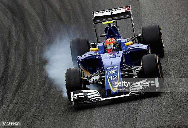 Felipe Nasr of Brazil driving the Sauber F1 Team Sauber C35 Ferrari 059/5 turbo locks a wheel under braking during qualifying for the Formula One...