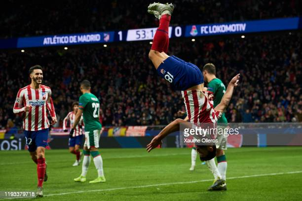 Felipe of Atletico de Madrid celebrates after scoring the second goal of his team during the UEFA Champions League group D match between Atletico...