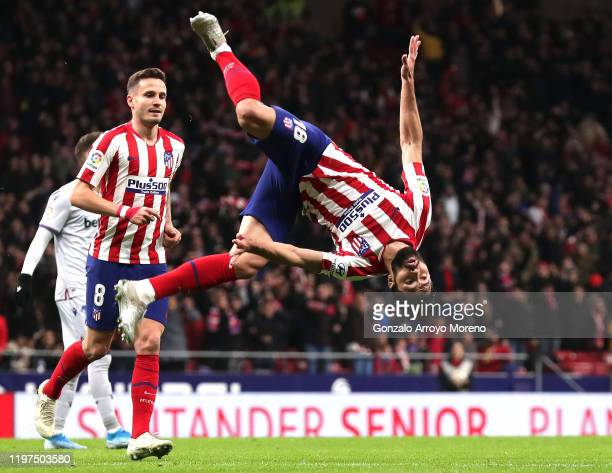 Felipe of Atletico Madrid celebrates after scoring his team's second goal during the La Liga match between Club Atletico de Madrid and Levante UD at...