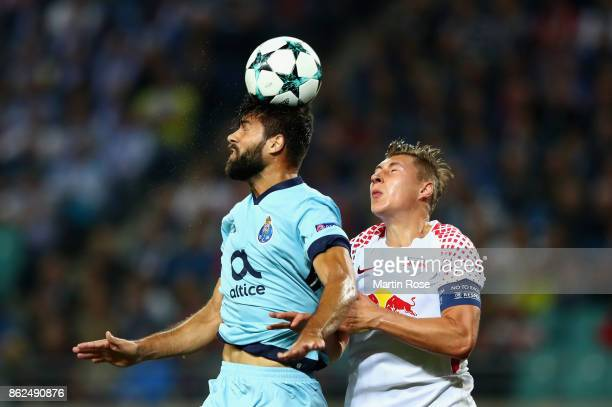 Felipe of FC Porto and Willi Orban of RB Leipzig battle for possession during the UEFA Champions League group G match between RB Leipzig and FC Porto...
