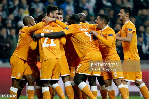 Felipe of FC Porto celebrate 01 with teammates during the UEFA Champions League match between Besiktas v FC Porto at the Vodafone Park on November 21...