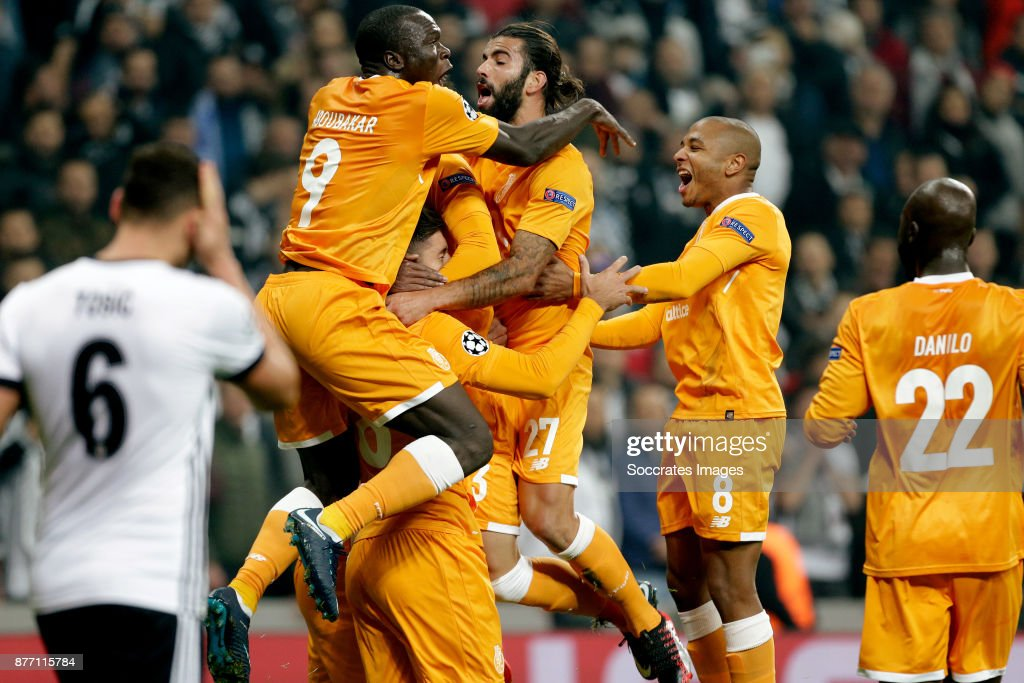 Felipe of FC Porto celebrate 0-1 with Vincent Aboubakar of FC Porto, Hector Herrera of FC Porto, Sergio Oliveira of FC Porto, Yacine Brahimi of FC Porto during the UEFA Champions League match between Besiktas v FC Porto at the Vodafone Park on November 21, 2017 in Istanbul Turkey