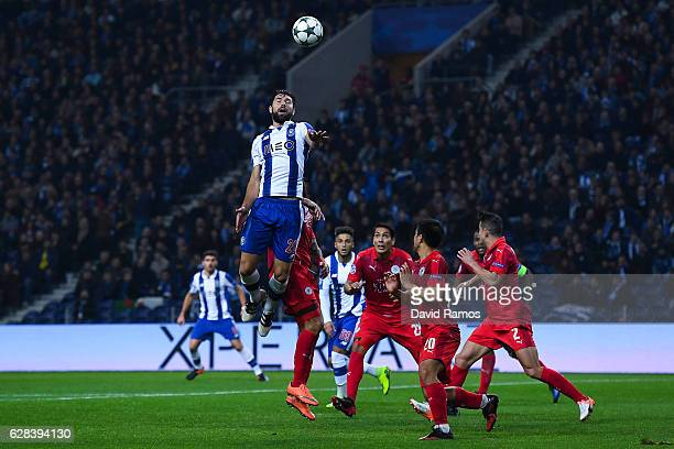 Felipe of FC Porto competes for a high ball with during the UEFA Champions League match between FC Porto and Leicester City FC at Estadio do Dragao...