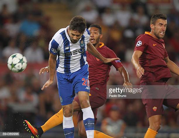 Felipe of FC Porto scores the opening goal during the UEFA Champions League qualifying playoff round second leg match between AS Roma and FC Porto at...