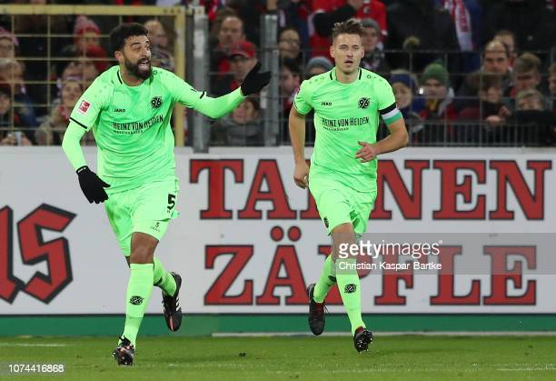 Felipe of Hannover 96 celebrates after scoring his team's first goal during the Bundesliga match between SportClub Freiburg and Hannover 96 at...