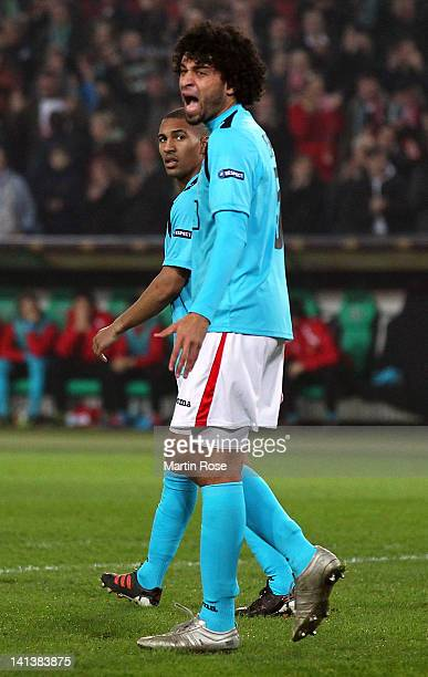 Felipe of Liege reacts during the UEFA Europa League second leg round of 16 match between Hannover 96 and Standard Liege at AWD Arena on March 15,...