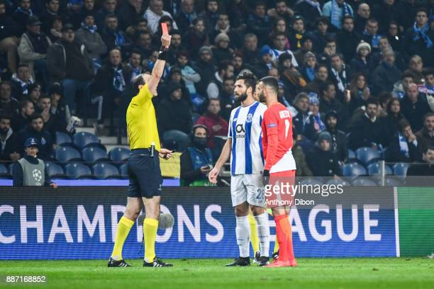 Felipe of Porto and Rachid Ghezzal of Monaco receives both a red card during the Uefa Champions League match between Fc Porto and As Monaco at...