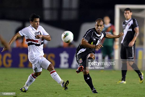Felipe of Vasco struggles for the ball with Jadson of Sao Paulo during a match between Vasco and Sao Paulo as part of the brazilian championship...