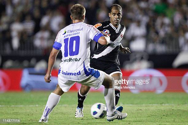 Felipe of Vasco struggles for the ball with Marquinhos of Avai during a match as part of Brazil Cup 2011 at Sao Januario stadium on May 18 2011 in...