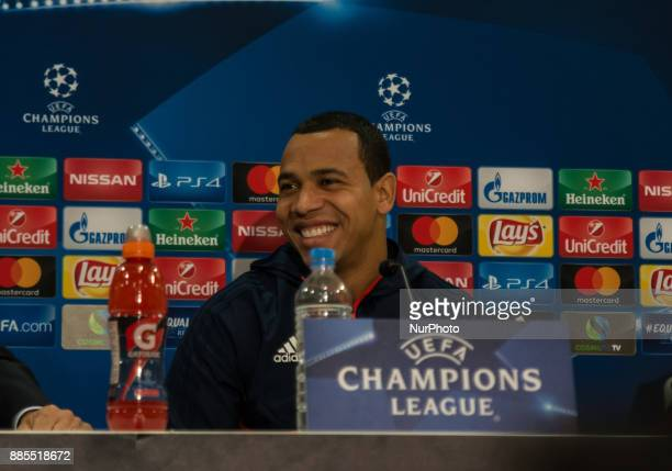 Felipe Pardo player of Olympoiakos FC speaks during the Olympiakos FC press conference on the eve of the UEFA Champions League match between...