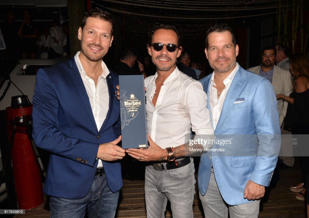Felipe Pimiento, Marc Anthony and Michel Vega at the Magnus Sports event at Sea Spice in the Miami River on July 11, 2017 in Miami, Florida.