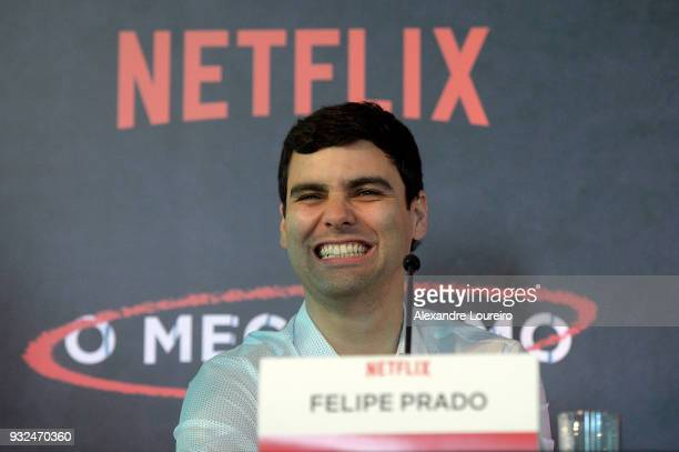 Felipe Prado speaks during the press conference for the new Netflix series O Mecanismo at the Belmond Copacabana Palace Hotel on March 15 2018 in Rio...