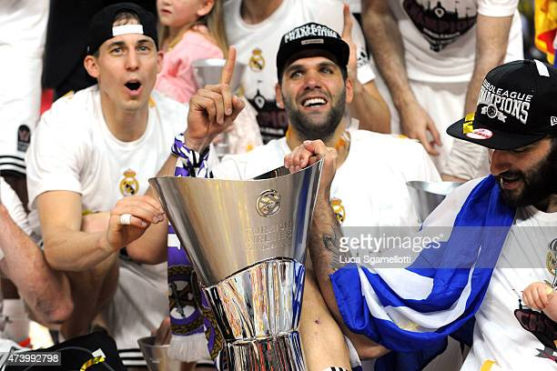 Felipe Reyes, #9 and Jaycee Carroll, #20 of Real Madrid during the Turkish Airlines Euroleague Final Four Madrid 2015 Champion Trophy Ceremony at...