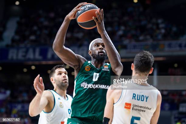 Felipe Reyes #9 and Rudy Fernandez of Real Madrid vies Chris Singleton of Panathinaikos Superfood in action during the Turkish Airlines Euroleague...