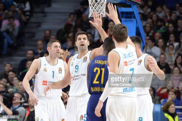 Felipe Reyes #9 forward of Real Madrid and Luka Doncic #7 guard of Real Madrid during the 2017/2018 Turkish Airlines Euroleague Regular Season Round...