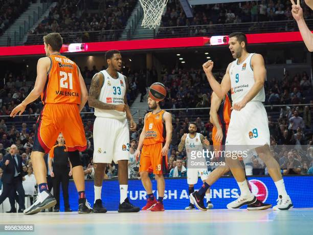 Felipe Reyes #9 forward of Real Madrid during the 2017/2018 Turkish Airlines Euroleague Regular Season Round 13 game between Real Madrid v Valencia...