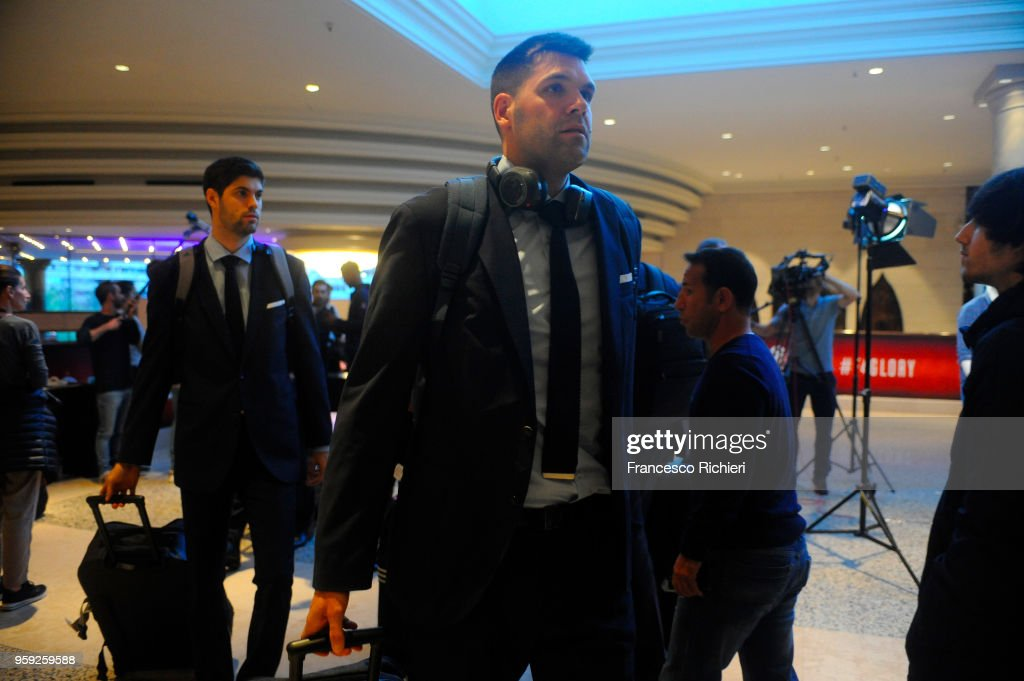 Felipe Reyes, #9 of Real during the Real Madrid arrival to participate of 2018 Turkish Airlines EuroLeague F4 at Hyatt Regency Hotel on May 16, 2018 in Belgrade, Serbia.